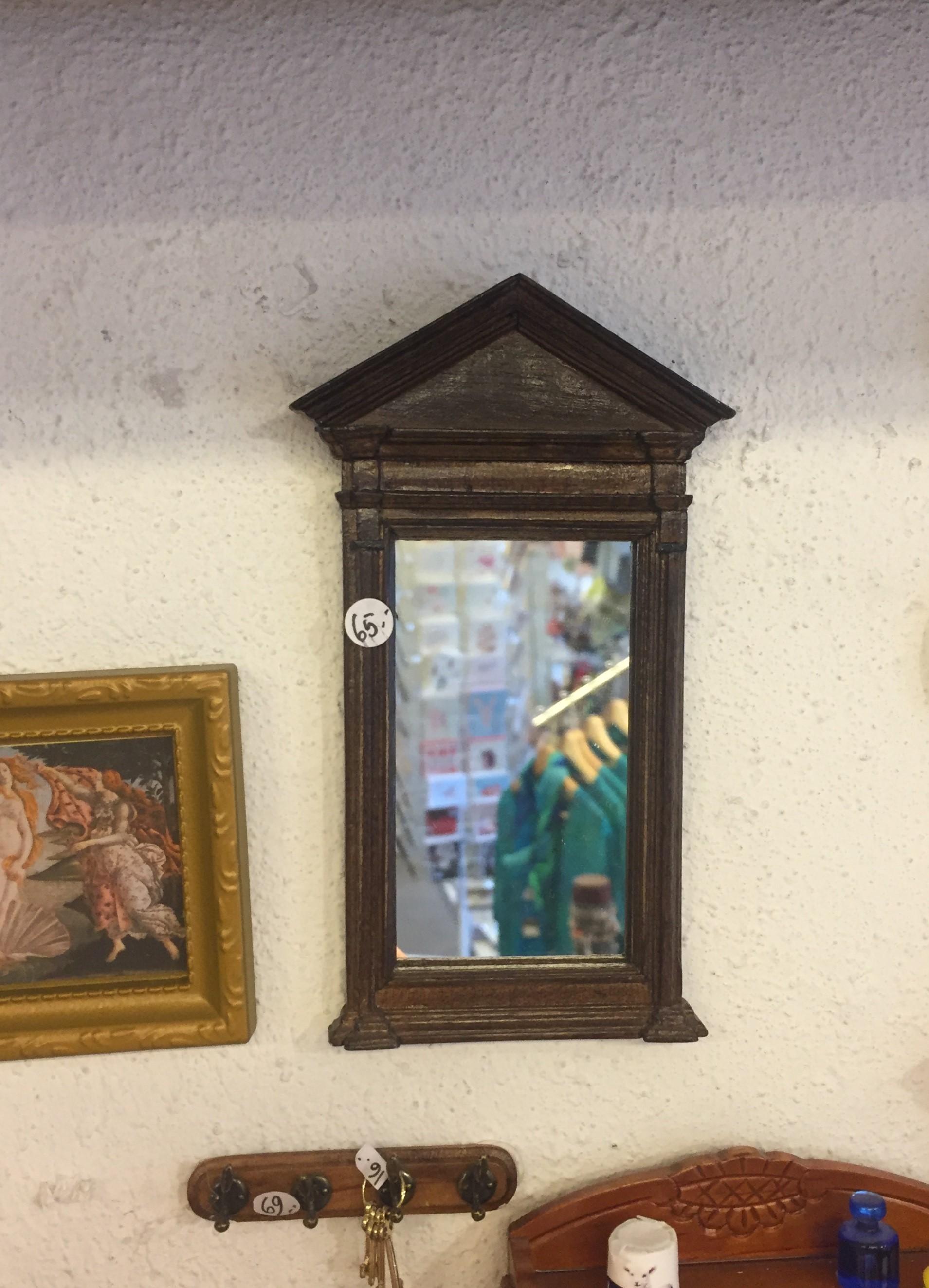 Miniature spejl til væg i træ
