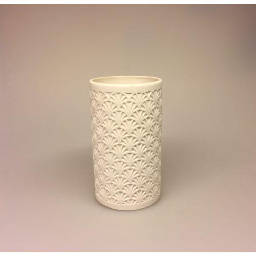 Fyrfadsstage - Vase med vifter , vase, fyrfadsstage, fyrfadslys, lanterne, lys i mørket, vinter, hygge, potte, sukkulent, kaktus, hyacint, vase, grene, keramik, relief, mønster, stiligt, enkelt, nordisk, hvid, creme, elefenben,biti