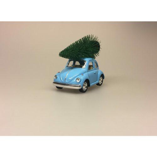 VW Folkevogn Mini Bobbel med juletræ Lyseblå,VW Folkevogn Bobble med juletræ lille Lyseblå, vw, folkevogn, bobbel, bobble, folkevognsbobbel, julebil, driving home for christmas, juletræ på taget, juletræ, grantræ, grantræ på taget, bil med juletræ, juletræsbil, juledekoration, julestilleben, bil med grantræ, biti, ribe