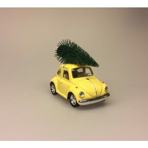 VW Folkevogn Mini Bobbel med juletræ Lysegul,VW Folkevogn Bobble med juletræ lille Lysegul, vw, folkevogn, bobbel, bobble, folkevognsbobbel, julebil, driving home for christmas, juletræ på taget, juletræ, grantræ, grantræ på taget, bil med juletræ, juletræsbil, juledekoration, julestilleben, bil med grantræ, biti, ribe, pastelfarvet, pastelgul