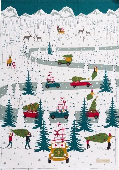 Viskestykke Bomuld med tryk - Driving Home for Christmas, Forklæde i Bomuld med tryk - Unisex - Driving home for Christmas, forklæde, til mænd, til damer, unisex, juleforklæde, jul i køkkenet, jlebag, julebagning, driving home for christmas, bil med juletræ, flot, lækkert, kvalitet, julegave, julegaveide, biti, ribe, allport,