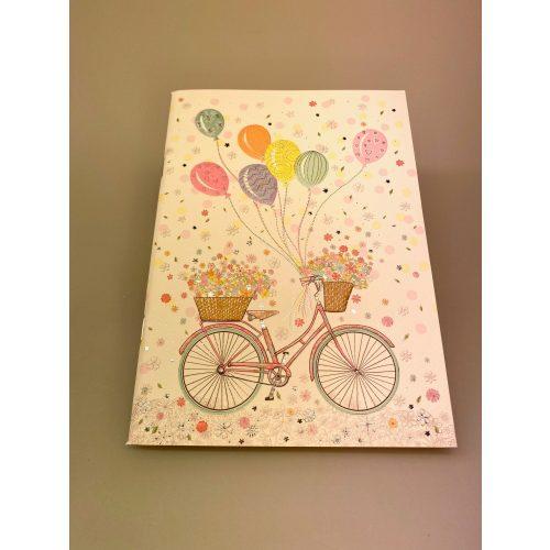 Hæfte A5 med Cykel og balloner, balloner, fest, fødselsdag, tillykke, cykel, cykelløb, cykel i gave, symbolsk, penge til cykel, ting med cykler, blomster, cykelkurv, ud i det blå, cykeltur, cykelferie, gaveide, biti, ribe
