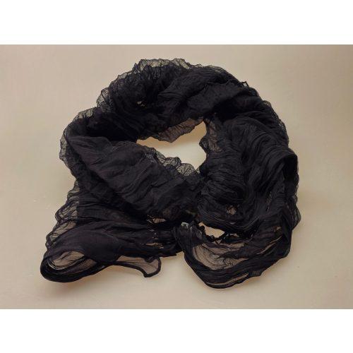 1150-30, sort, Silkechiffon twistet på tværs 1159 - Sort, ensfarvet, let, elegant, sort tørklæde, silke, ren silke, 100% silke, silkechiffon, lækkert, kvalitet, assesories, smart, cool, klasssisk, biti, ribe, kor, kor tørklæder, uniform,