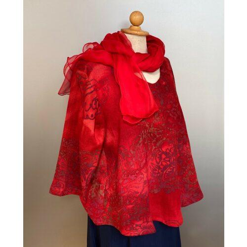 Leli Bluse Hør/viskose - Varm Rød, rigtig rød, knaldrød, kort, vidde, feminin, langærmet, halvlange ærmer, rund hals, a-snit, a-facon, struktur, vævet, hør, hørbluse, hørstof, blød, åndbar, biti, ribe, Diva