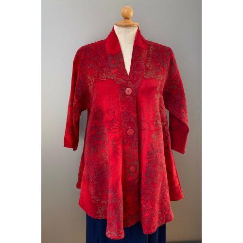 UNO jakke A-facon i hør/viskose - Varm Rød, festtøj, festjkke, vidde, løs, klædelig, store størrelser, stor barm, curvey, struktur, hørjakke, indejakke, til fest, casual, afslappet, look, elegant, smart, speciel, blød, åndbar, lækker, smuk, rød, rigtig, rød, varm farve, varme faver, knaldrød, postkasserød, rouge, sommertøj, let, bolero, biti, ribe, Diva, krave, sjalskrave, kinakrave