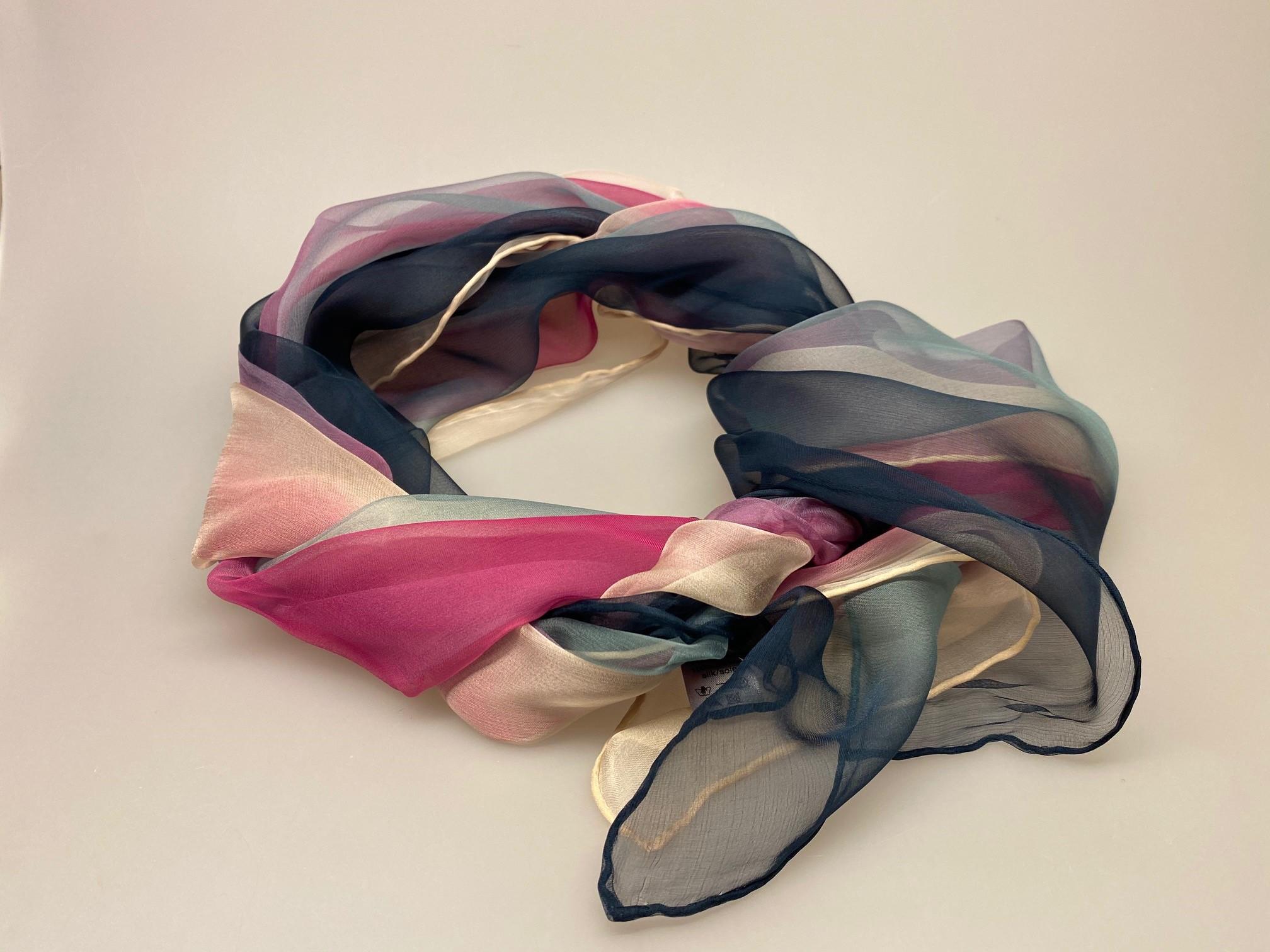 Silkechiffon Tørklæde 1158 - Marineblå/Pink/Pudder, 1158-242