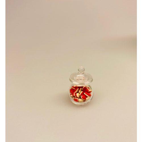 Miniature Glas med Hjerteslik, vingummi, vingummier, skum,
