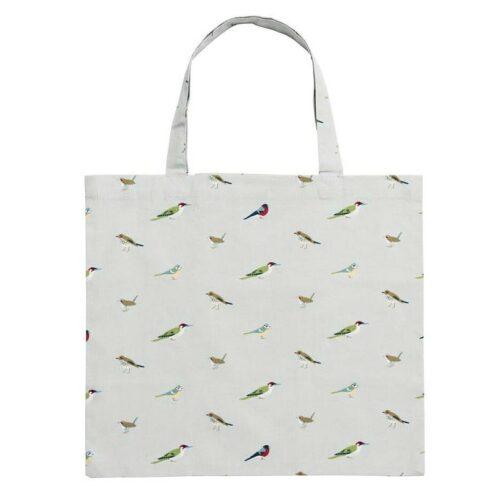 Sammenfoldeligt Net - Fugle, fuglemotiv, fugle i farver, danske fugle, ting med fugle, blåmejse, indkøbsnet, indkøbspose, stofnet, stofpose, mulepose, tote, totebag, bomuldsnet, bomuldspose, shopper, shoppingbag, genanvendelig, bæredygtig, miljørigtig, indkøbspose, taske, stoftaske, strikketøj, gymnastikpose, biti, ribe, natur