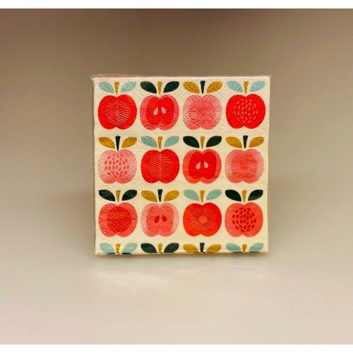 Servietter - Røde Æbler, retro, retroservietter, retromotiv, design, røde æbler, æblemotiv, små servietter, picnic, skovtur, gave, gaveide, skovtur, gavekort, konfirmations, borddækning, kagebord, kaffebord, fødselsdag, i det grønne, madkurv, ud i det blå, biti, ribe, vintage apples, rex london,
