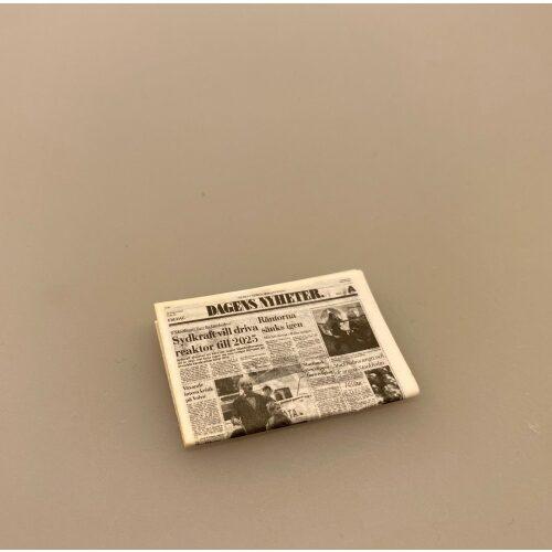 avis, Miniature Avis, lillebitte, dukkehus, lekture, dukkehustilbehør, ting, til, sætterkassen, 1:12, biti, ribe, typograf, journalist