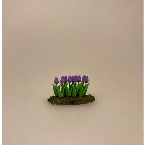 Miniature Bed med Tulipaner blå, forårsblomster, forårsbed, tulipanbed, biti, ribe, gartner, planteskole, have, havearbejde, biti, ribe