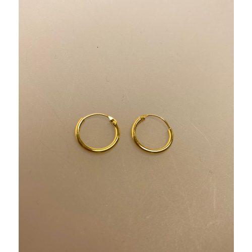 Creoler - Ø 12 mm øreringe forgyldt sølv - glatte Hoops, ægte, guld, guldøreringe, forgyldte, gudbelagte, tykke, små, runde, ringe, stine a, billige, maanesten, tilbud