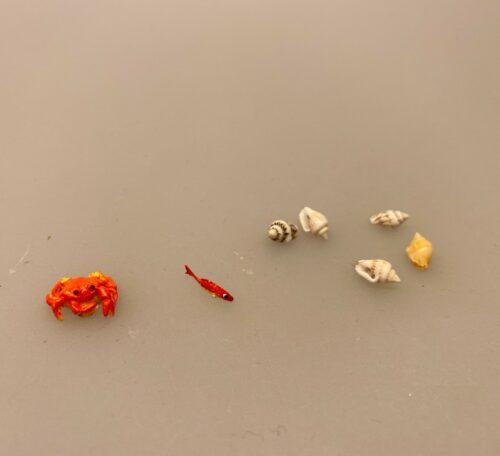 Miniature Krabbe,Miniature Fisk Madding, fisk, guldfisk, slørhale, akvarium, havedam, fisketur, lystfisker, fiskestang, gavekort, udstyr, strand, biti, ribe, miniaturer, dukkehus, dukkehusting, dukkehustilbehør, samler, skala, 1:12,
