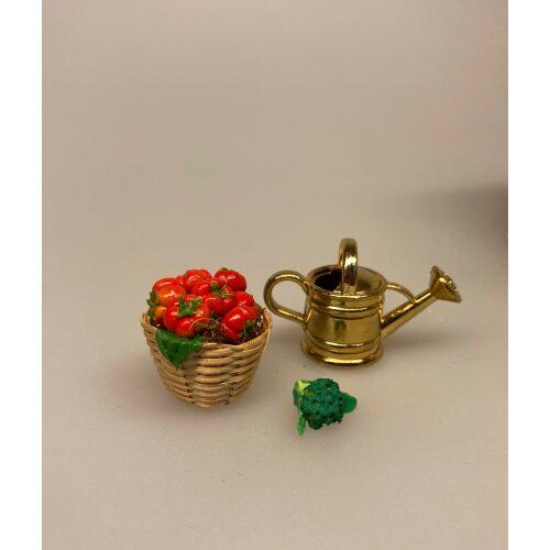 Miniature Broccoli, Miniature Kurv med tomater, tomatkurv, minimad, grøntsager, dukkehus, dukkehusmad, legemad, mini