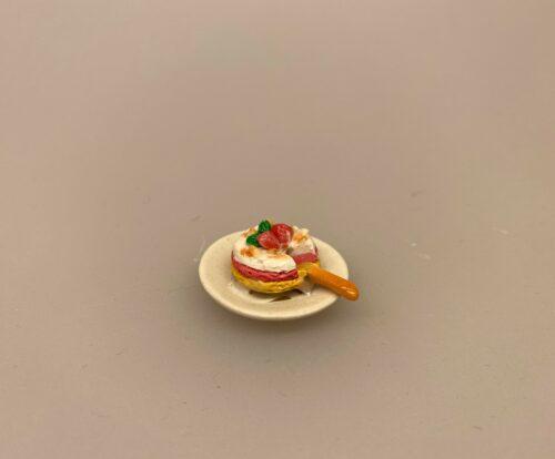 Miniature Lagkage Chokolade, Miniature Lagkage fersken og vafler, lagkage, dukkemad, legemad, mini kager, dukkehusmad, dukkehusting, dukkehustilbehør, miniatyre, miniaturer, sættekasser, sætterkasse, ting til, dekoration, barbie, 1:12,