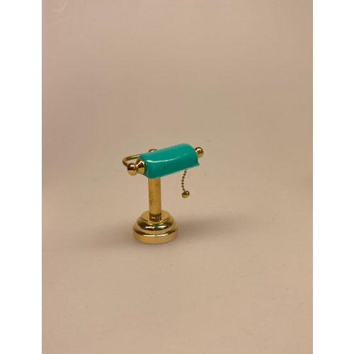 Miniature Bordlampe med grøn skærm, læselampe, batteri, LED, dukkehus, dukkehuslampe, belysning, batterilampe, skrivebordslampe, mini, minaturer, sættekasse, tilbehør, dukkehusting, møbler, interiør, biti, ribe