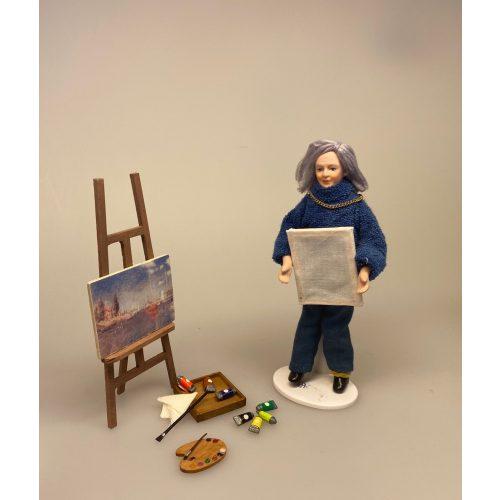 Miniature Trækasse med malertuber,Miniature Træ Palette,maler, Miniature Staffeli med 2 malerier, kunstnerstaffeli, malerstaffeli, kunstmaler, fritids, armatør, kunst, malerier, maleri, kreativ, gave, gaveide, kunstner artikler