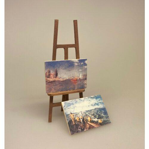 maler, Miniature Staffeli med 2 malerier, kunstnerstaffeli, malerstaffeli, kunstmaler, fritids, armatør, kunst, malerier, maleri, kreativ, gave, gaveide, kunstner artikler