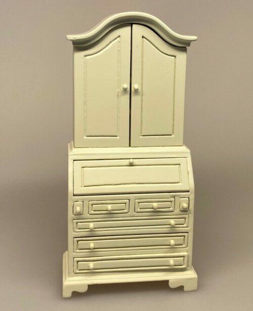 Miniature Chatol cremefarvet, skab, skuffemøbel, stue, dukkestue, dukkehus, dukkemøbler, dukkehusmøbel, biti, ribe, mini