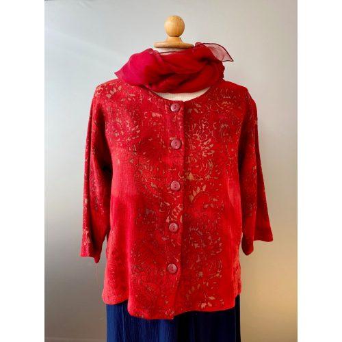 Manis kort jakke i hør/viskose - Varm Rød, rød, indejakke, kort jakke, hørjakke, festjakke, bolero, varme farver, natur, økologisk, bæredygtigt, specielt, batik, batiktryk, batikfarvet, smukt, biti, ribe, vadehavet, mandø,