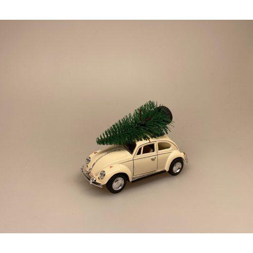 VW Folkevogn Bobbel Classic med juletræ på taget - Creme Hvid, VW Folkevogn Bobbel Classic - Creme hvid, hvid, folkevogn, vw, bobbel, boble, bobble, nedgroet negl, asfaltbobbel, asfalt bobbel, asfalt boble, julebil, driving home for christmas, cristmas, xmas, julepynt, classic, klasssiks, finurlig, moderne, oldschool, old school, gammeldags, stilleben, gaveide, gamle biler, bil med træ, bil med gran, bil med juletræ, bil med grantræ, træ på taget, gran på taget, grantræ på taget, juletræ på taget, biti, ribe, kvalitet,