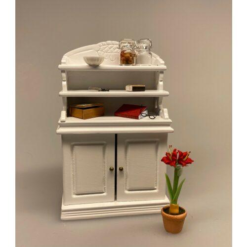 Miniature Buffet lav - Hvid, buffet, skab, kommode, reol, møbel, dukkehus, nissebo, dukkehusmøbler, miniature