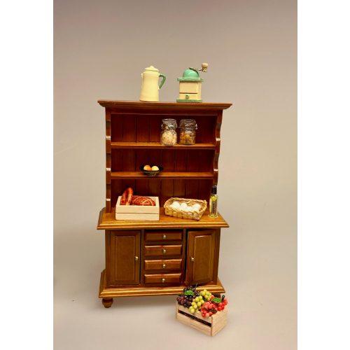 Miniature Buffet med skuffer - Nød, buffet, reol, skab, køkkenskab, dukkemøbler, Miniature Buffet lav - Hvid, buffet, skab, kommode, reol, møbel, dukkehus, nissebo, dukkehusmøbler, miniature
