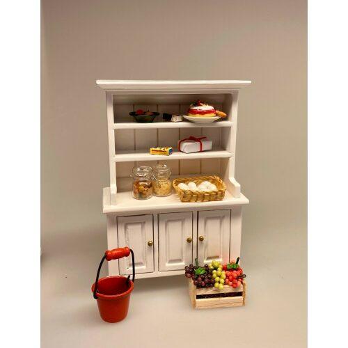 Miniature Buffet med underskabe - Hvid, Miniature Buffet lav - Hvid, buffet, skab, kommode, reol, møbel, dukkehus, nissebo, dukkehusmøbler, miniature
