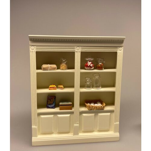 Miniature Butiksreol cremefarvet dobbelt, butik, butiksreol, dukkehus, dukkebutik, købmand, konditori, bager, høker, legetøj, miniature, miniaturer, dukkehusmøbler, til, tilbehør, dukkehus, legetøj, 1:12, dukkestue, nissebutik, nissekøbmand, biti, ribe