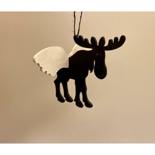 Ophæng - Elg med vinger , engleelg, engelelg, elg, med vinger, englevinger, elsdyr, elgsdyr, ting med elge, elgeophæng, svenske ting, svensk jul, julepynt, jul, dekoration, træophæng, svensk træ, svensk hemsløjd, biti, ribe,