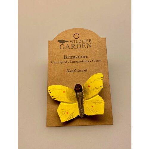 Magnet Sommerfugl af træ - Citron sommerfugl, sommerfugle, natur, naturinteresseret, butterfly, frihed, gaveide, magnet, håndlavet, træ, træskærearbejde, af træ, kunsthåndværk, naturlig, biti, ribe,