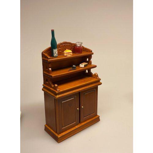 Miniature Buffet lav - Valnød, spisestue, Miniature Buffet lav - brun , buffet, skab, kommode, reol, møbel, dukkehus, nissebo, dukkehusmøbler, miniature
