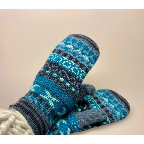 Strikkede luffer uld med foer Blå - turkis, uld, uldne, luffer, vanter, uldluffer, uldvanter, handsker, blå, farver, lækkert, kvalitet, lune, bløde, kradser ikke, gaveide, gave, julegave, vinterluffer, strikluffer, strikvanter, biti, ribe, flotte, mønster, mønsterstrik, varme,