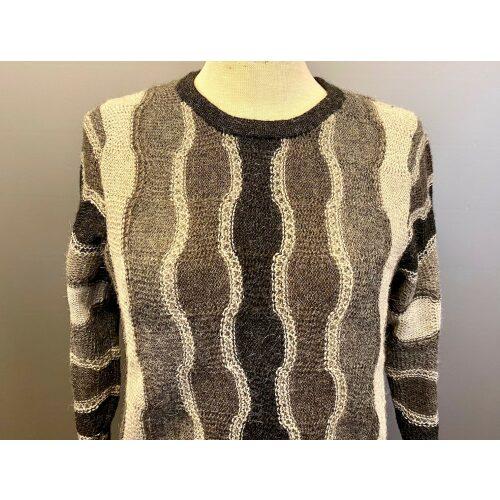Artisanas Sol Alpaca pullover med bølgemønster, ufarvet, naturlig, grå, mønster, mønsterstrik, alpaca, alpacauld, alpacastrik, damestrik, strikbluse, sweater, varm, lun, lille, små størrelser, alpaka, alpakka, strikbuse, grå nuancer, grå toner, billigt, godt, tilbud, udsalg, speciel, kvalitet, luksuriøs, eksklusiv, flot, elegant, smart, biti, ribe