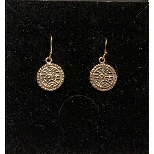 Bronze Ørehængere - Ribemønt, mønt, numismatiker, bracteat, gammel, gamle, vikingfund, ribe, udgravninger, skat. sølvskat, hedeby, vikingetiden, vikingesmykker, vikingeøreringe, øreringe, hængeøreringe, ørehængere, bronze, gylden, kobber, kobberbryllup, kobbersmykker, nordiske, guder, mytologi, aser, odin, thor, ydun, idun, freja, frej, odinsmaske, fabeldyr, museumssmykker, museums, kopi, kopismykker, biti, ribe, ansgar, dronning, dagmar, vadehavet, riberhus, valdemar,