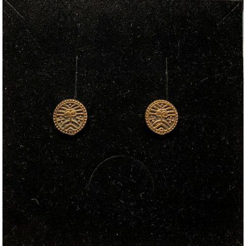 Bronze ørestikkere - Ribe Mønt, bracteat, mønter, vikingesmykker, ægte, originale, udgravninger, Ribe, domkirke, møntfund, øreringe, studs, museumssmykker, kopismykker, vikingekopi, bronzesmykker, bronzemønt, sølvskat, biti