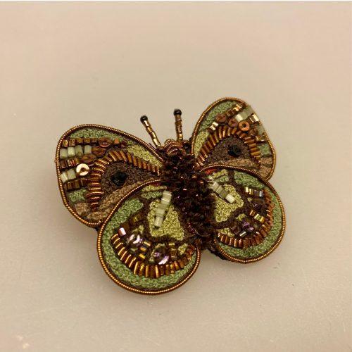 Håndlavet Broche Grøn lilla sommerfugl, Håndlavet Broche Nat sommerfugl, nat sommerfugl, natsværmer, Håndlavet Broche brun sommerfugl, Håndlavet Broche sommerfugl,