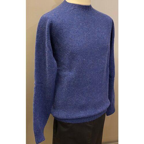 Harley of Scotland - Unisex Uld Pullover - Kongeblå, royal blue, coboltblå, koboltblå, klr blå, Harley of Scotland - Unisex Uld Pullover - tofarvet, turkis, blå, blågrøn, sporty, herremodel, herrestrik, herresweater, uldtrøje, uldpullover, pullover, striktrøje, strik, trøje, let, lun, tynd, lang, damestrik, biti, speciel, skotsk
