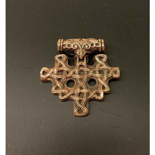 Vikingevedhæng i bronze - Hiddensee Kors, gammelt, vikingekors, stort, markant, vikingesmykker, vedhæng, fugl, ravn, museumssmykker, museumssmykke, kopi, original, ægte, nordiske, guder, aser, mytologi, interessant, rollespil, gaveide, fund, vikingefund, biti, ribe, ansgar, domkirke,