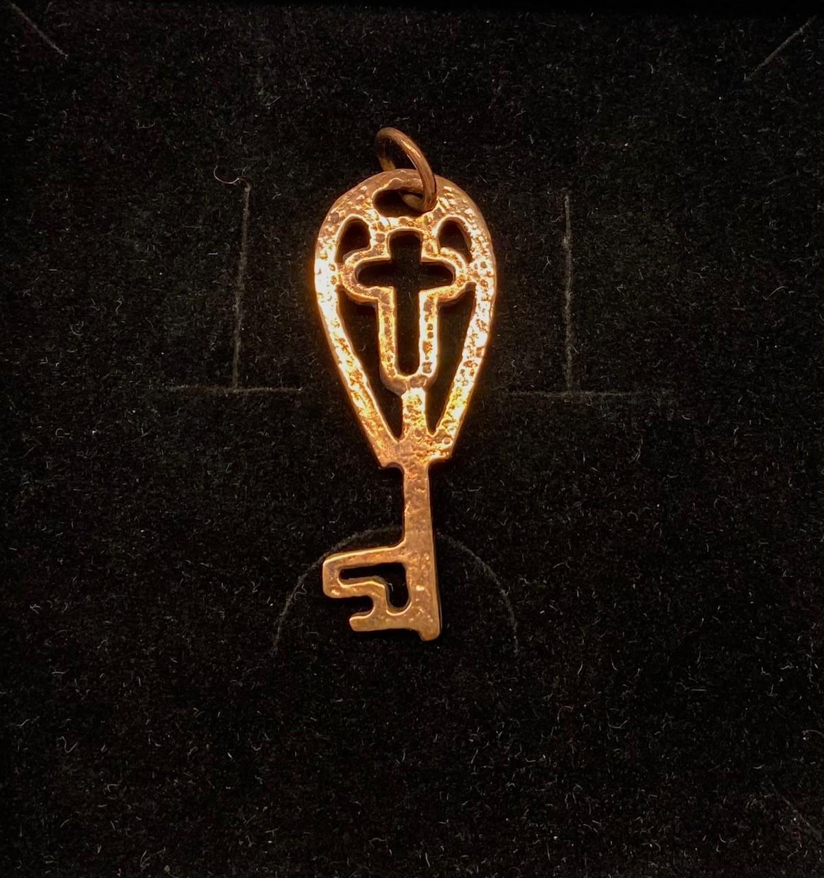 Vikingevedhæng i bronze - Himmelnøgle med kors, kors, Vikingevedhæng i bronze - Himmelnøgle stor vikingesmykke - vikingevedhæng vedhæng bronze vikinge nøglen til himmeriget
