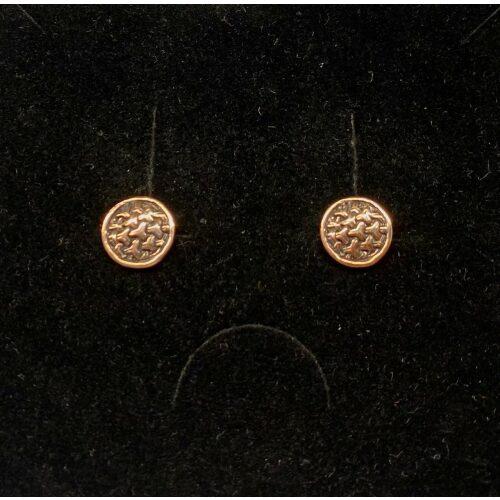 Bronze ørestikkere - Ringkædemønster, borrestil, vikingesmykker, museumssmykker, øreringe, stikkere, studs, ægte, kopismykker, fund, udgravninger, odin, freja, frigg, ydun, idun, gylde, bronze, kobber, biti, ribe