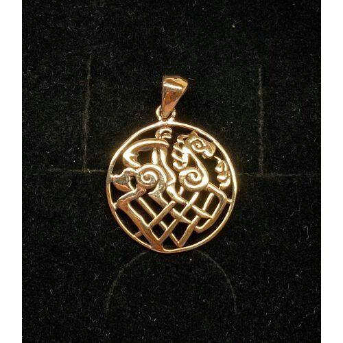 Bronze Vedhæng - Odins hest Slejpner åben flet, hest, ottebenet, otte ben, odin, odins hest, sleipner, fletværk, vedhæng, keltisk, evigheden, hurtig som vinden, vikingesmykker, vedhæng, bronze, bronzesmykke, museumssmykke, museums, kopi, udgravninger, fund, biti, ribe