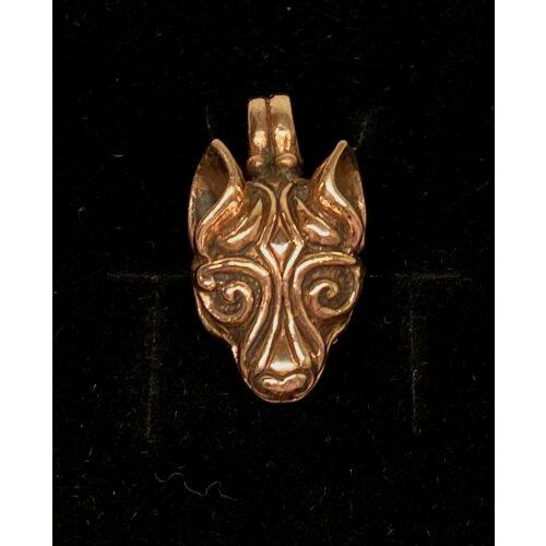 Bronze Vikingevedhæng - Fenris Ulvehoved, ulv, ulvehoved, fenris, fenrisulven, loke, asgård, aser, nordiske, guder, museumssmykker, museums, mytologi, myter, mytisk, dyr, smykke, vedhæng, bronze, gylden, vikingesmykker, biti, ribe, fund, specielt, flot, tungt, gedigent