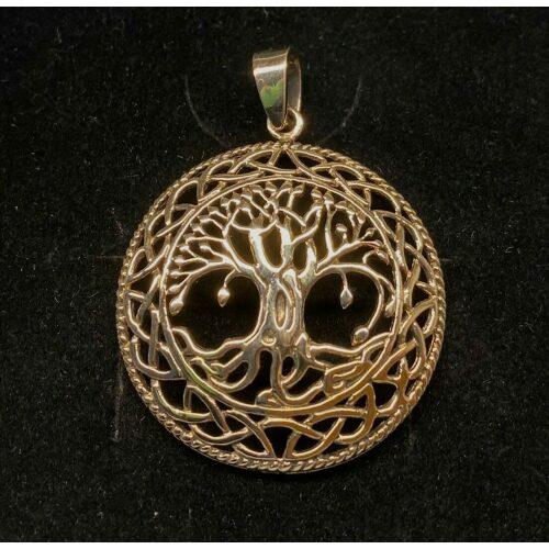 Bronze Vikingevedhæng - Livets træ Yggdrasil med keltisk flet buet, livets træ, gylden, guld, vedhæng, stort, flot, symbolsk, generationer, livets gang, cyklus, konfirmation, livstræet, ask, asketræ, yggdrasil, museumssmykker, vikinger, vikingesmykker, halskæde, smykker, bronze, kopismykker, nordiske, guder, aser, asatro, odin, freja, loke, frigg, freya, evigheden, evighed, uendelig, biti, ribe
