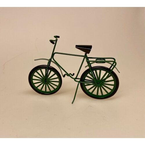 Cykel grøn metal miniature 1:12 , gavekort, til cykel, gaveide, symbolsk, konfirmation, sangskjuler, cykler, cykling, rytter, motion, dukkehus, lille, miniature, tilbehør, dukkehusting, biti, ribe
