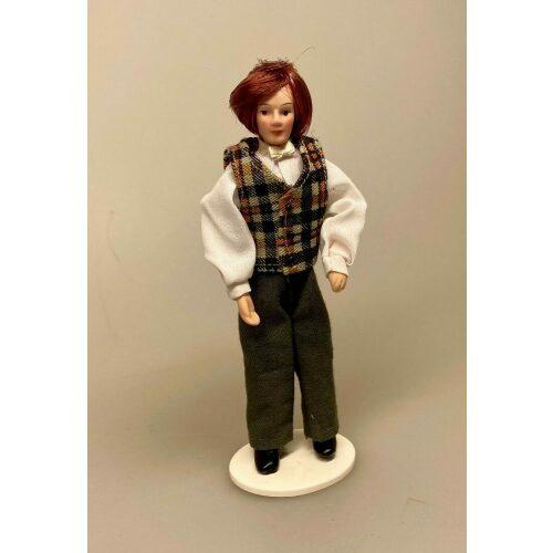Dukke Mand - Anthon i skjorte og ternet vest, musiker, dukke, mand, dukkemand, dukkehusdukke, tilbehør, dukkehus, miniature, 1:12, andedukke, dukkefar, biti, ribe, sangskjuler, gaveide, sjov