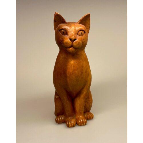Kat - håndskåret - Trækat Kigger ligeud XL Brun, naturlig, naturtro, livagtig, flot, stor, imponerende, kvalitet, størrelse, træ, trædyr, træfigur, trækat, kat, katte, af træ, håndlavet, håndsnittet, træskærearbejde, træsnit, kunst, kunsthåndværk, gave, gaveide, speciel, biti, ribe