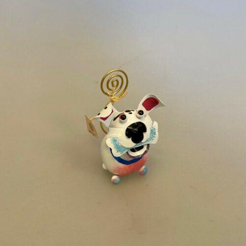 Memo holder metal - Hund Hvid, hund, hundeting, ting med hunde, hundefigur, memo, memoholder, huskeseddel, fotoholder, foto, gave, gavekort, sjov, hundelufter, biti, ribe