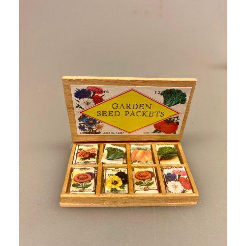 Miniature Kasse med frøposer grøntsager, hjemmedyrkede, grøntsager, havearbejde, frøposer, blomsterfrø, grøntsagsfrø, forspiring, udplantning, havearbejde, biti, ribe, miniaturer, tomater, drivhus, gavekort, gaveide, symbolsk, gave, sangskjuler