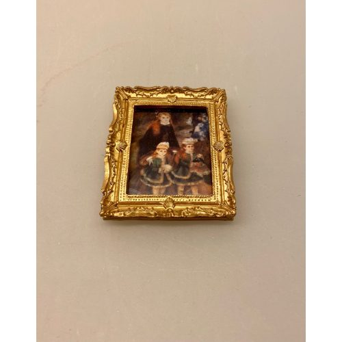 Miniature Maleri Renoir 3 piger, Renoir, maleri, miniature, billede, dukkehuset, dukkehusmaleri, dukkehuset, pynt, dekoration, kunst, kunst, kunstmaler, billedkunst, oliemaleri, lille, sætterkasse, symbolsk, gave, gaveide, biti, ribe